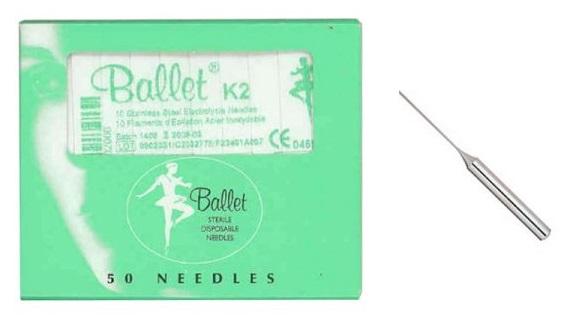6520.02 Aghi Ballet inox K2 50pz - per elettrodepilazione
