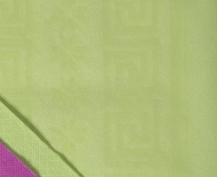 Tovaglia damascata politenata verde mela 100x100