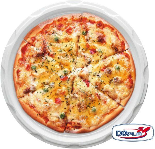 Piatti monouso per pizza in plastica, bianchi