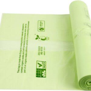 Sacchi in Mater-Bi di colore verde, biodegradabili.